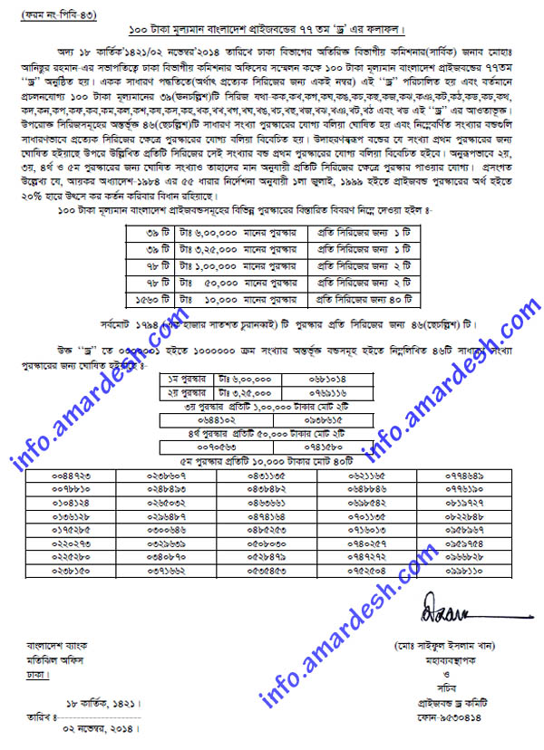 77th draw result for bangladesh bank 100 taka prizebond