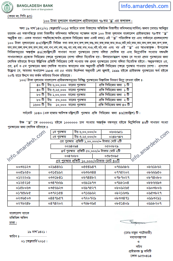 78th Draw Result for Bangladesh Bank Prizebond (1 February 2015)