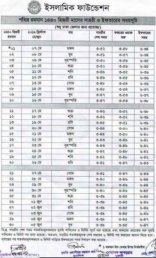 Ramadan Schedule 2019